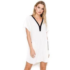 ASTR V-Neck Crepe Shift Dress